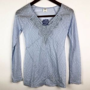 NWT Free People Long Sleeve V-neck Lace Top